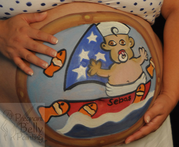 sailor baby on a boat baby bump painting
